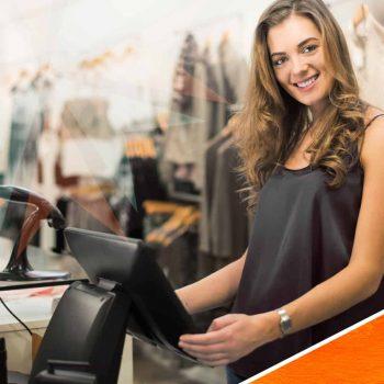 Woman using retail pos